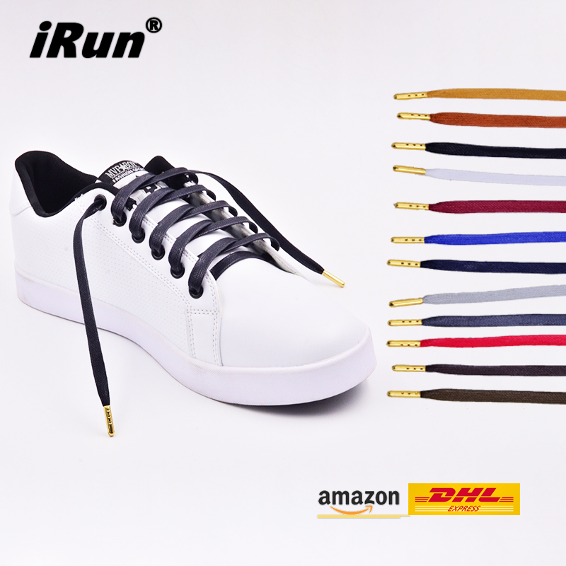 Premium Flat Waxed Cotton Sneaker Shoelaces with Metal
