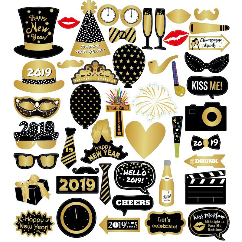2019 New Year Photo Booth Happy Party Photobooth Props New Year Party Decoration Photo Booth Paper Beard Funny Party Supplies
