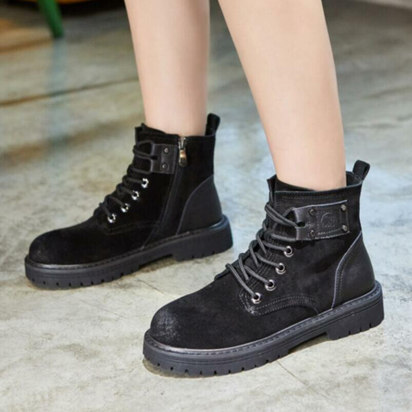 {D&Henlu} 2018 New Autumn Winter Shoes Women Genuine Leather Ladies Flats Boots Martin Motorcycle Boots Women Platform Lace-Up 2017 new autumn winter shoes for women ankle boots genuine leather boots women martin boots lace up platform combat boots botas