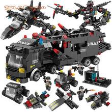 8 w 3 miasta seria policyjna SWAT klocki dla dzieci montaż broni samolot samochód zabawka robot kompatybilne z Lego marek tanie tanio SOLO PONIA Z tworzywa sztucznego 334 pcs C010 1 48 Samoloty none Chłopcy 6 in 1 5-7 lat Air Craft Block Building Blocks