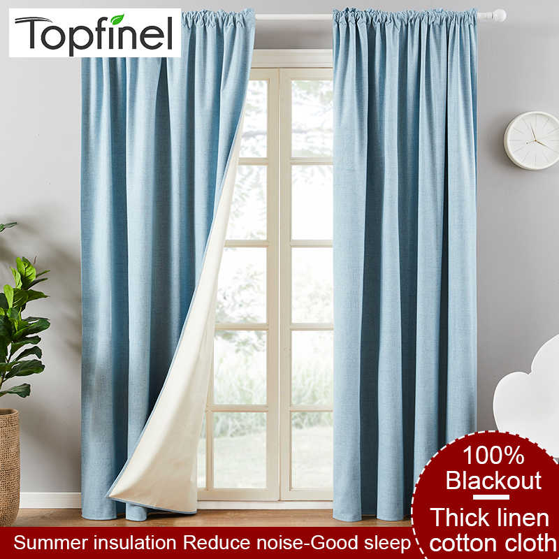 Topfinel Solid color linen 100% blackout curtains for living room Thickening Soundproof curtains for bedroom Window Drapes