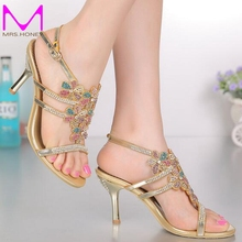 Open Toe Summer Sandals with Rhinestone Gold Color Wedding Dress Shoes Stiletto Heel Sexy Party Dancing Shoes