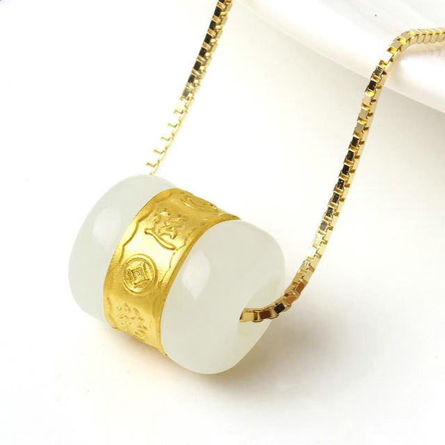 Drop Shipping Hetian Jade Transfer Beads Pendant Gold Jade LuLuTong  Necklace  Lucky Amulet Lovers Jewelry For Men Women Gift