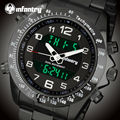 INFANTRY Men Sports Watches Relojes Stainless Steel LED Digital Watches 30M Waterproof Aviator Military Wristwatches Alarm Clock