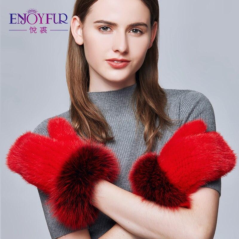 ENJOYFUR Real Mink Fur Winter Gloves Female Fashion Silver Fox Fur Patchwork Gloves Women Colorful Warm