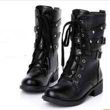Women Boots Shoes Winter Martin Mid-boots Round Toe Lace-Up Mid-Calf Belt Buckle Casual Female Pumps Plus Size