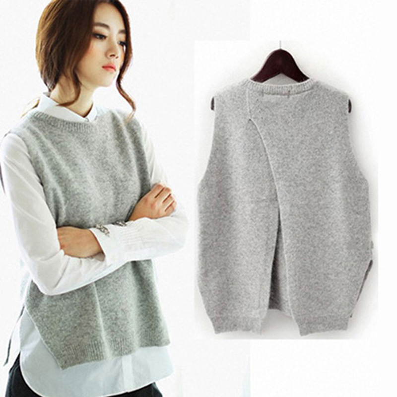 HLICYUM The New Cashmere Vest Back To Open The Knit Vest Woman Round Neck Loose Jacket Sweater Coat Wool Waistcoat 2018 Tops