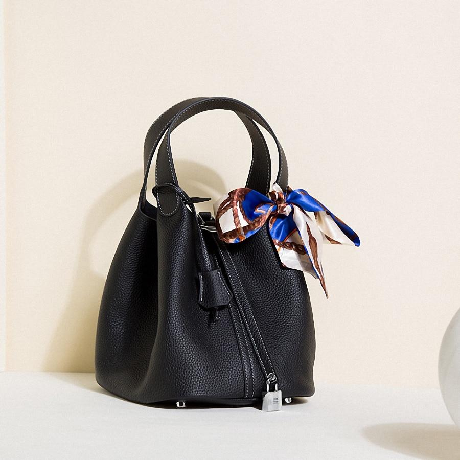 Women\'S Genuine Leather Bucket Handbag Totes Large Capacity Crossbody Bag Shoulder Bags -KG104