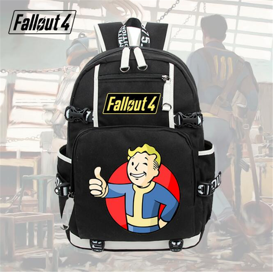 GAME Fallout cosplay backpack Student School Backpack men women bag Travel bag shoulder bag 5 style new game of thrones anime ice and fire backpack shoulder school bag package cosplay 45x32x13cm