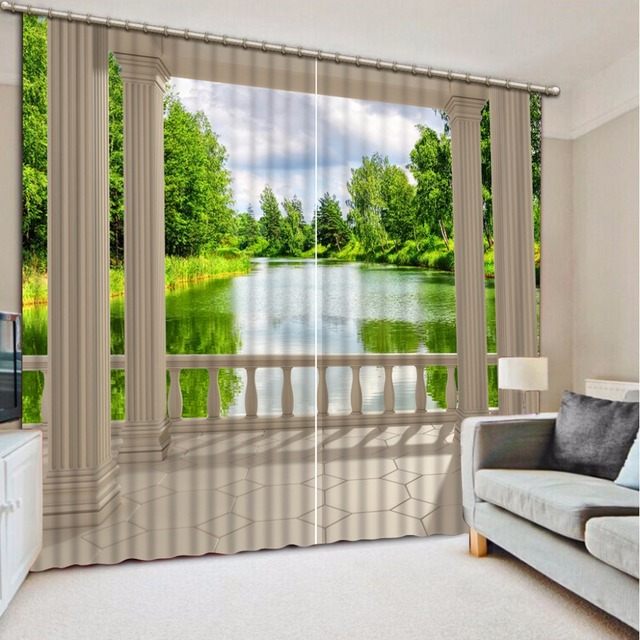 Home Bedroom Decoration 3d Curtain Balcony Pillars Scenery Bed Room