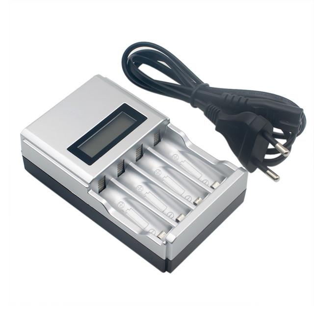 Top qualidade carregador de bateria aa hora super rápido lcd aa/AAA Carregador de Bateria de NiMh ou Nicd Plugue DA UE # ET