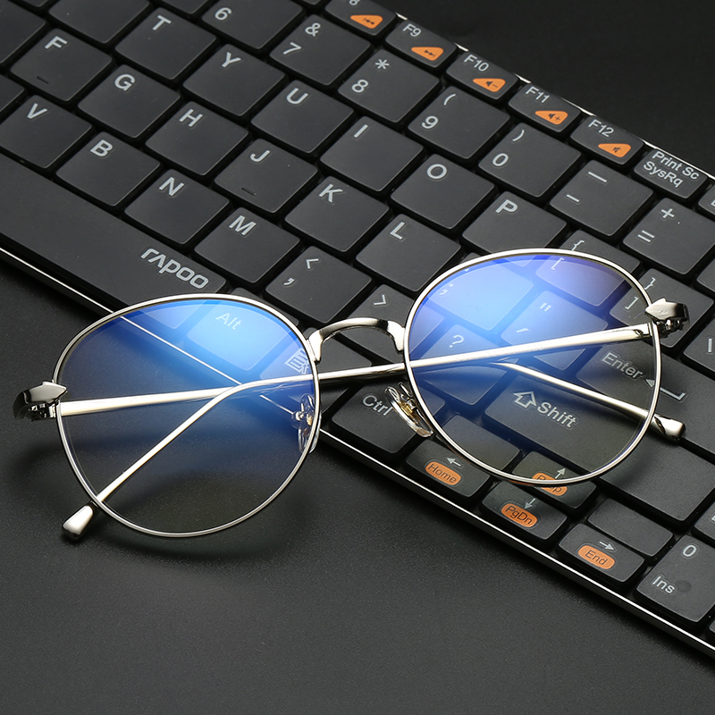 2928538a76d0 VCKA Blue Light Computer Glasses Frame Gaming Glasses Spectacle Women Men  Of Metal And Vintage Eyeglasses Round Full-Rim eyewear