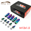 HB Racing 20 Pcs Neo Chrome Rainbow M12x1.5 BLOX Racing Wheel Lug Nuts Com Spikes