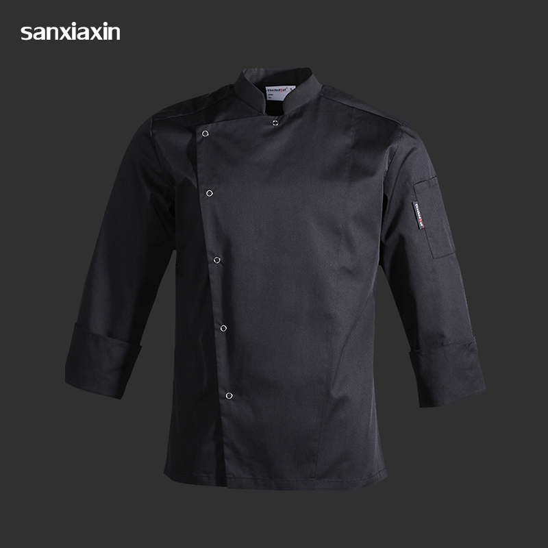 High Quality Black Unisex Restaurant Uniform S-3XL Wholesale Women Men Long/Short-Sleeve Kitchen Hotel Chef Jacket Bake Uniform