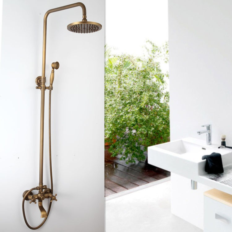 FreeShipping Luxury NEW Antique Brass Rainfall Shower Set Faucet + Tub Mixer Tap + Handheld Shower Wall Mounted GZ-6005