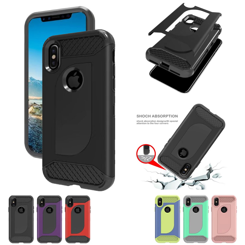 Shock absorption Hard Rugged Ultra Protective Back Rubber Cover with Dual Layer Impact Protection Case for iPhone X  iphone x cases 3 layers Shock absorption Hard Rugged Ultra Protective Back Rubber Cover with Dual font b Layer b font