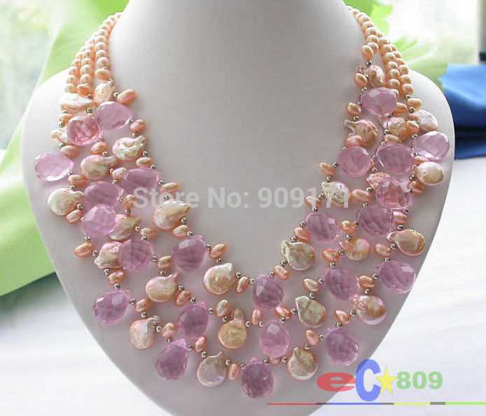 Free Shipping>>3ROW PINK RICE/COIN FRESHWATER PEARL DRIP CRYSTAL NECKLACE