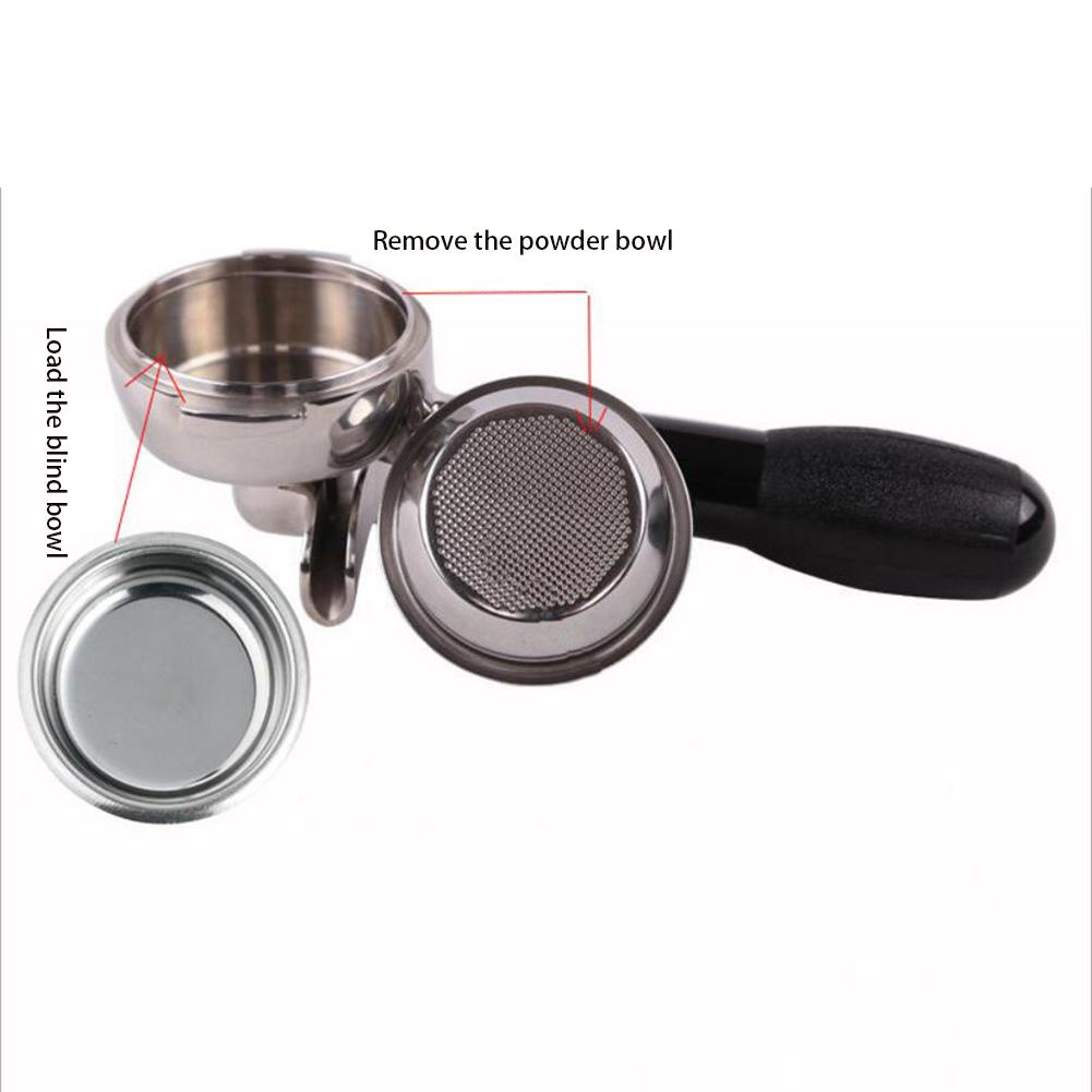 Coffee Bottomless Filter Basket Silver Stainless Steel Machine Single//Double Cup