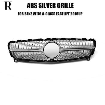 W176 Diamant Stil ABS Silber Front Stoßstange Grill Grille für Benz W176 A180 A200 A260 A45 Facelift 2016-2018 (keine sterne logo)