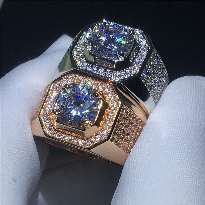 ccc8d692a8d0 Lzx diseño clásico oro blanco color anillo hombre 3 bandas 6 prong  Sparkling solitario cubic zirconia