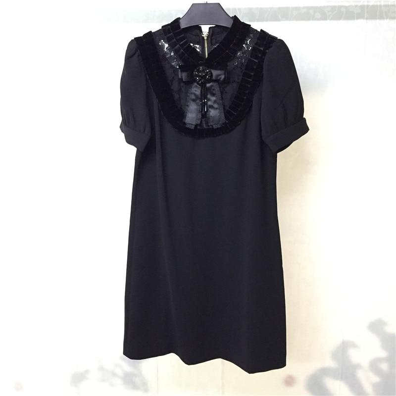 Rétro robe pour les femmes de haute qualité à manches courtes o-cou femmes mini robe 2018 nouvelles femmes robe en vente