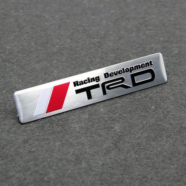 Aluminum trd racing development car stickers for toyota crown reiz mark x prado alphard camry 86