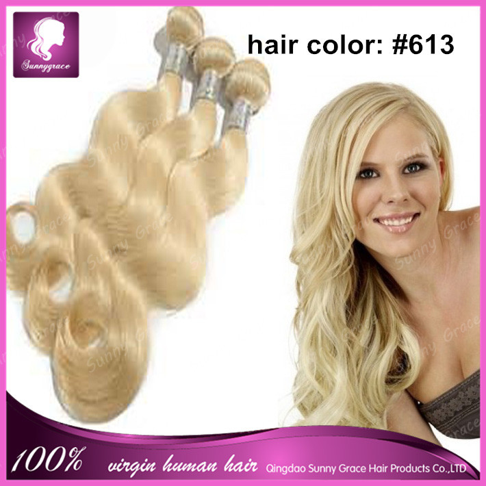 Malaysian Human Remy Hair Weave Bundles Blonde 613 Colored Hair