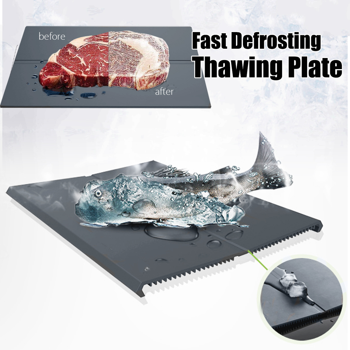 SURVEN Fast Defrosting Tray Plate 18 X Speed Quick Thawing Safe Way to Defrost Meat or F ...