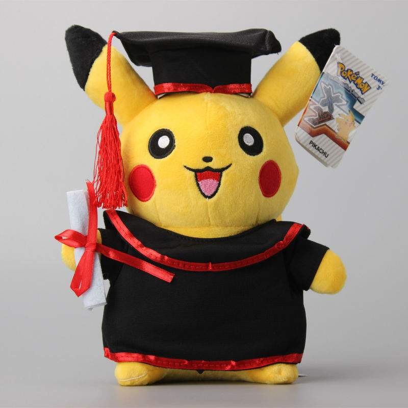 NEW 27CM Pikachu Graduate Fitting Plush Toys Gift font b Stuffed b font Doll Graduate Gift