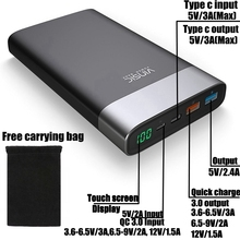 Vinsic Quick Charge 3.0 Мощность Bank 20000 мАч QC 3.0 Тип-C 3A Быстрая зарядка для IPhone IPad Xiaomi Mi5 Nexus 5×6 P Huawei Универсальный