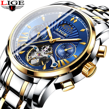 2019 LIGE Mens Watches Top Brand Luxury Tourbillon Mechanical Watch Men All Steel Business Waterproof Automatic Clock Relogios