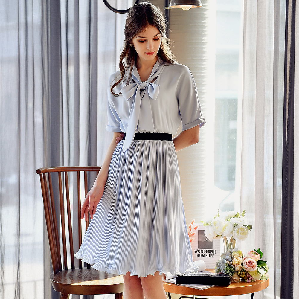 Dabuwawa summer short sleeve light blue bow chiffon dress