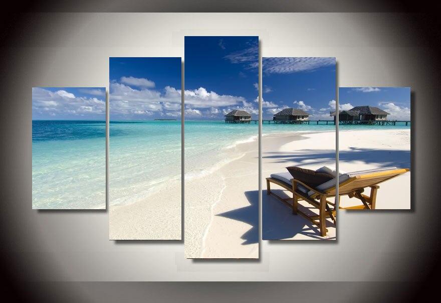 ✅2017 Top Fashion unframed impreso seaview playa 5 paneles grupo ...
