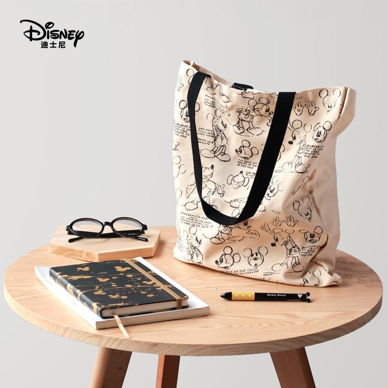 Disney Mummy Shopping Bags Canvas Bag Shoulder Female Eco Cloth Handbag Tote Disney Bag Mickey Mouse School Travel Women Folding