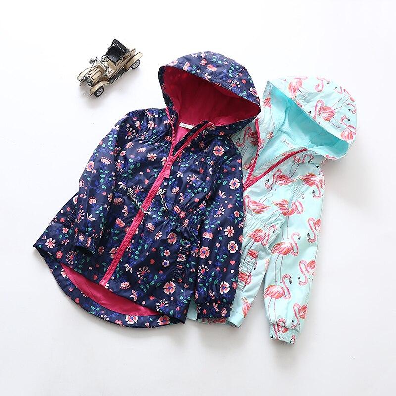 New  Girls Hooded Windbreaker Jacket Waist Collection Windproof Rainproof Outdoor Leisure