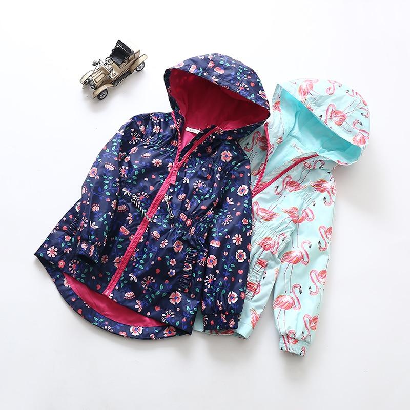 New Girls Hooded windbreaker jacka midja insamling vindtätt - Barnkläder