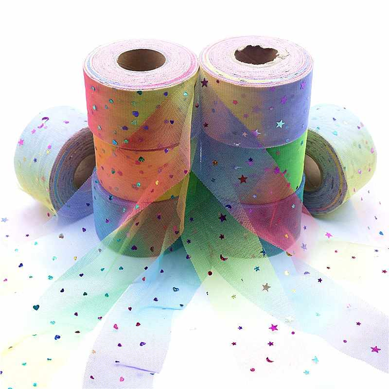 50 Yds Sequins Rainbow Tulle ม้วนผ้า DIY เด็กทารก Tutu กระโปรงแต่งงานของขวัญและของขวัญเก้าอี้ Sashes วันเกิด Party supply
