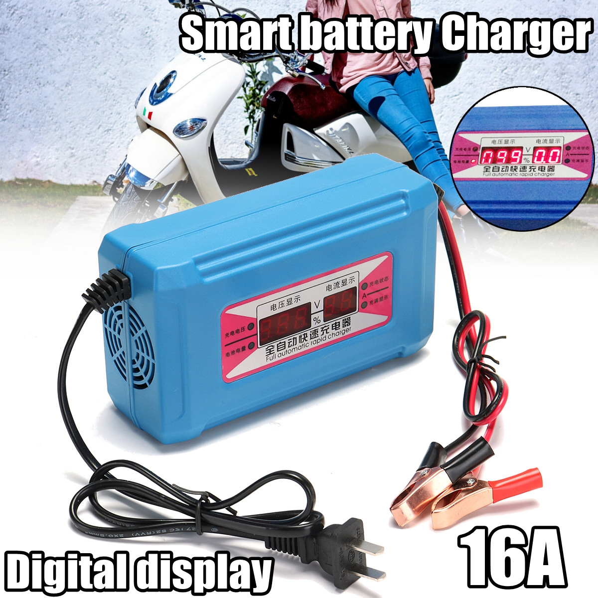 12v 6 10 16A Automatic LCD Digital Car Motorcycle Smart Fast Battery Charger with Digital Display