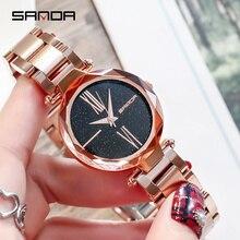 купить SANDA Creative Night Flash Sky Dial Watches Women Stainless Steel Watch Purple Lady Wristwatches Clock For Female montres femme по цене 2683.41 рублей