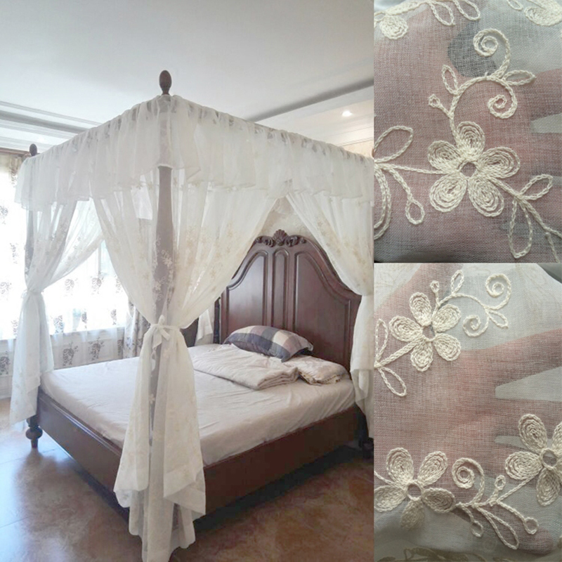 Us 208 64 40 Off 2018 Moustiquaire Embroidered Canopy Bed Curtain Valance Drapery Europe Style Net Room Home Decoration Mosquito Roman Curtains In