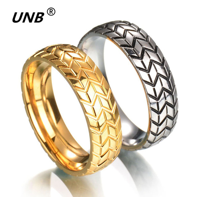 UNB 2017 Vintage Stainless Steel The Men\'s Tire Veins One Ring ...