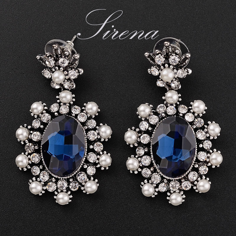 EC072 EC077 Vintage Silver Color Dangle Drop Chandelier Austrian CZ Big Crystal Rhinestone Immitation Pearls Luxury Earrings - SIRENA Jewelry store