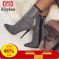Eilyken Women Ankle Boots Plus Size 35 42 Rhinestones High Heels Shoes Woman Zip Pointed Toe Sexy Motorcycle Boots For Females