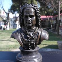 Musician Bach bronze sculpture portrait Bust Statue Figure decoration craft gift art jewelry Home Furnishing