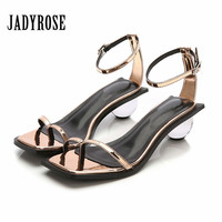Jady Rose Sexy Gladiator Sandals Transparent Ball Heel Women Summer Sandalias Mujer Ankle Strap High Heel Shoes Woman Flip Flops
