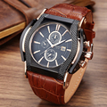 Fashion Casual Watches Men Military Sport Quartz Watch Square Leather strap Wrist watches relojes relogio masculino montre homme