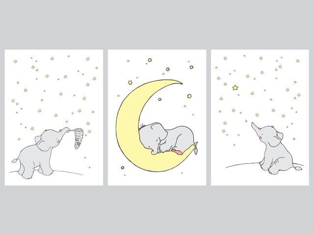 Cartoon Elephant Canvas Painting Wall Picture Art Prints Cute Animals Koala Print Poster Baby