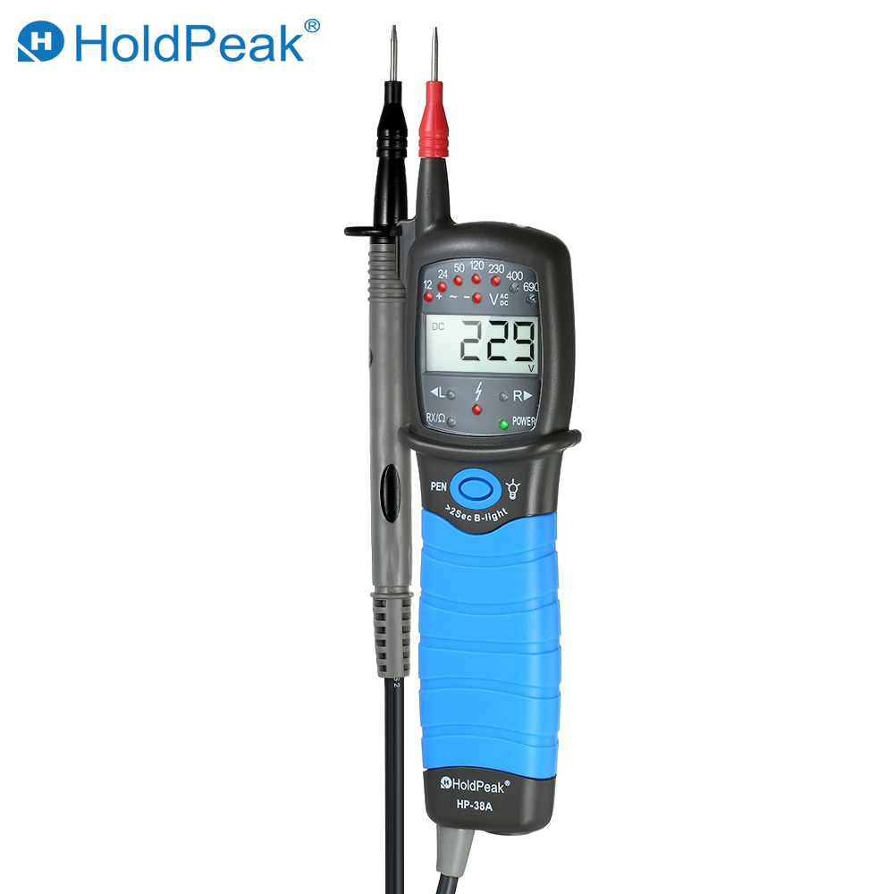 цены Digital Voltmeter Voltage Tester HoldPeak Non-contact Auto-range LCD AC/DC Detector Continuity Test Phase Rotation Test