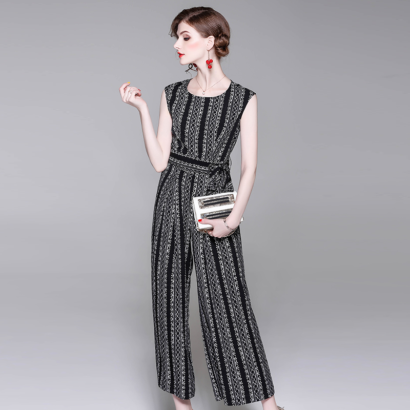 8a5f793d92a summer spring woman jumpsuit white vintage strip pattern print black  jumpsuit with sash sleeveless fashion office lady jumpsuit-in Jumpsuits  from Women s ...