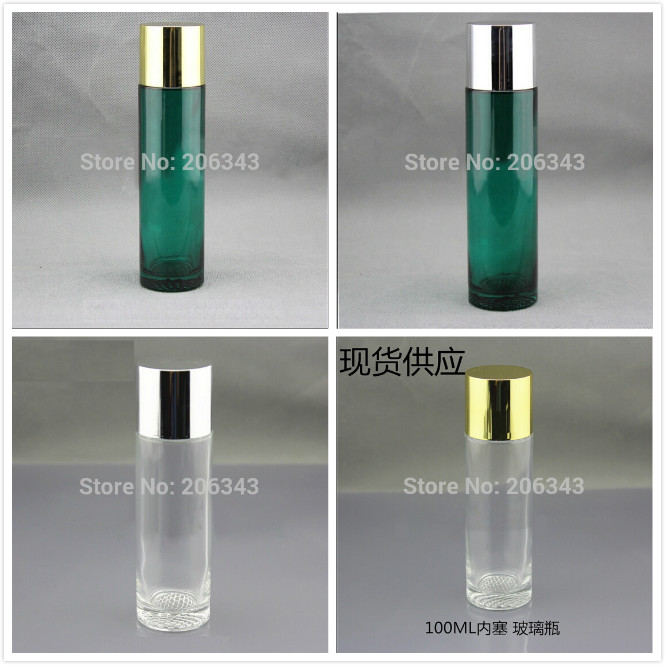 100ml green clear glass bottle with gold silver screw lid plastic stopper for toner toilet water